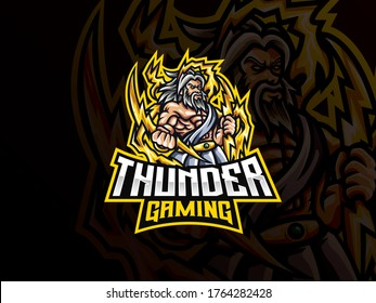 Zeus mascot sport logo design. Zeus mythology mascot vector illustration logo. Zeus thunderbolt gods mascot design, Emblem design for esports team. Vector illustration