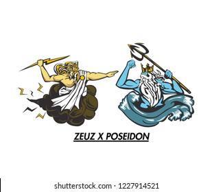 zeus and poseidon logo vector isolated on white background