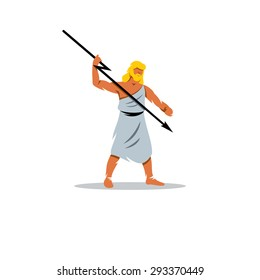 Zeus sign. In Greek mythology, king of gods, people, sky, weather, fate, law. Vector Illustration. Branding Identity Corporate logo design template Isolated on a white background