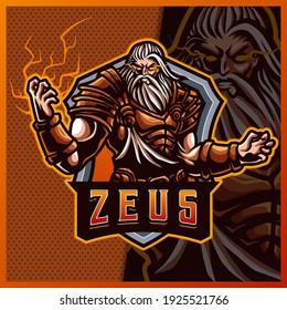 Zeus thunder god mascot esport logo design illustrations vector template, storm god logo for team game streamer youtuber banner twitch discord