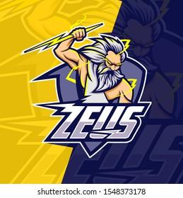 zeus with thunder mascot esport logo design
