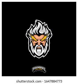 Zeus Thunderbolt Esport gaming mascot logo template Vector. Modern Head Zeus Thunderbolt Logo Vector,  Illustration