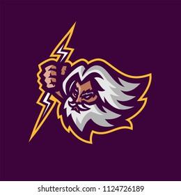 zeus thunderbolt gods esport gaming mascot logo template