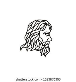 Zeus Triton Neptune King Face with Beard and Mustache logo design