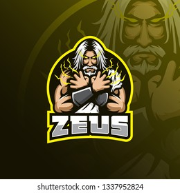 zeus vector mascot logo design with modern illustration concept style for badge, emblem and tshirt printing. angry zeus illustration for sport and esport team.