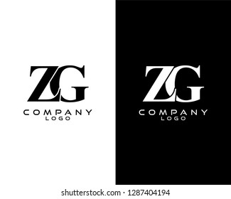 zg/gz company linked letter modern logo black and white color vector for business and company