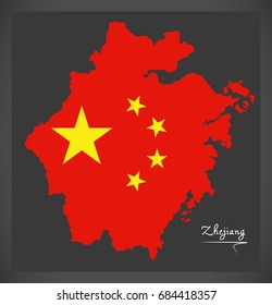 Zhejiang China map with Chinese national flag illustration