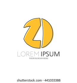 ZI Logo. Vector Graphic Sphere Branding Letter Element. White Background