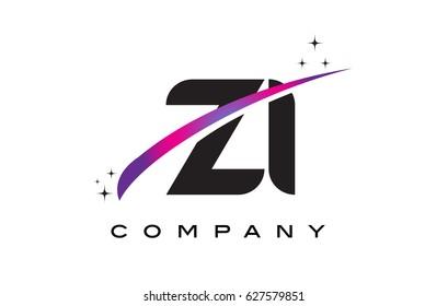 ZI Z I Black Letter Logo Design with Purple Magenta Swoosh and Stars.