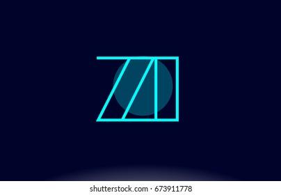 zi z i blue line circle letter logo alphabet creative company vector icon design template