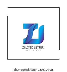 zi z i circle lowercase design of alphabet letter combination with infinity suitable as a logo for a company or business - Vector