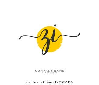 ZI Z I Initial handwriting logo vector