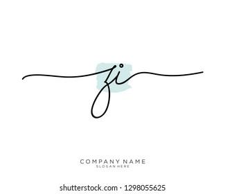 ZI Z I Initial handwriting logo template