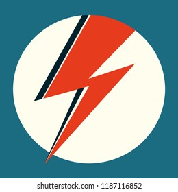 Ziggy Stardust red flash. Hand drawn vector illustration with lightning in circle for logo, poster, postcard, clothing print, flyer. Retro sign with isolated red thunderbolt on light background.