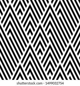 Zigzag black and white segments. Vector seamless pattern.