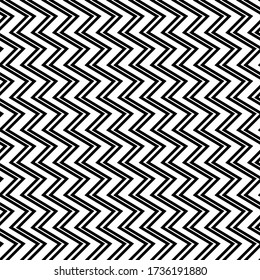 Zigzag lines seamless pattern. Angled jagged stripes ornament. Linear waves motif. Diagonal curves print. Striped background. Tilted broken line shapes wallpaper. Slanted wavy stripe figures. Vector