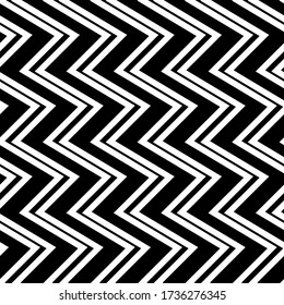 Zigzag lines seamless pattern. Angled jagged stripes ornament. Linear waves motif. Diagonal curves print. Striped background. Tilted broken line shapes wallpaper. Slanted wavy stripe figures. Vector.