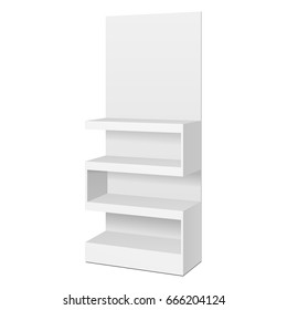 Zigzag POS POI Floor Showcase Display Rack Shelves For Supermarket. Front View 3D. Illustration Isolated On White Background. Mock Up Template Ready For Your Design. Product Advertising. Vector EPS10