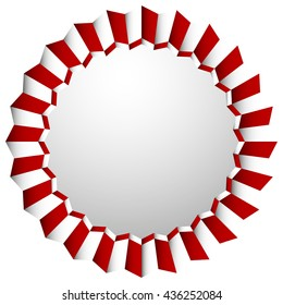 Zigzag rosette, badge, cockade isolated on white with space. Decorative element.