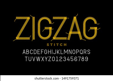 Zigzag stitch style font design, embroidery alphabet, letters and numbers vector illustration