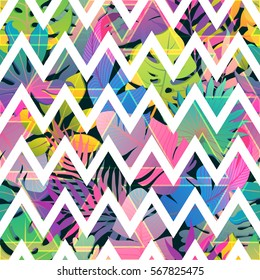 Zigzag strips on colorful tropic seamless vector pattern. Abstract trendy background. Print for fabric, wallpaper, invitation and wrapping design.