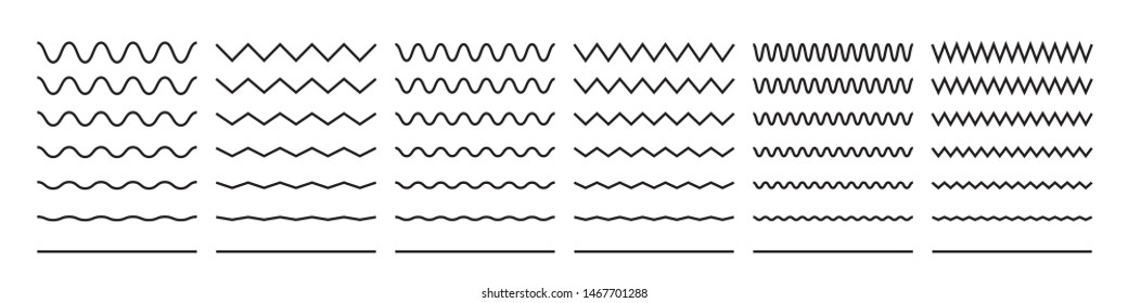Zigzag wave line patterns, smooth end squiggly horizontal vector lines and black curvy underlines
