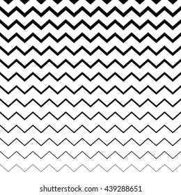 Zigzag, wavy irregular lines pattern. Horizontally repeatable. Geometric background with lines from thick to thin.
