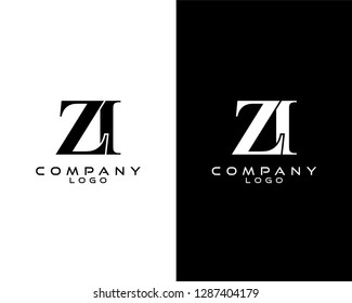 zi/iz company linked letter modern logo black and white color vector for business and company