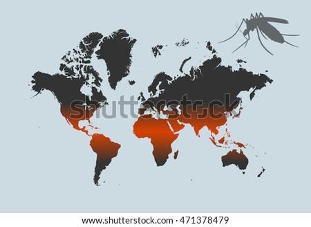 Zika Dengue Mosquito Disease World Map Stock Vector Royalty Free