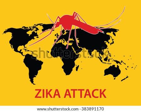 Zika Virus Attack Concept World Map Stock Vector Royalty Free
