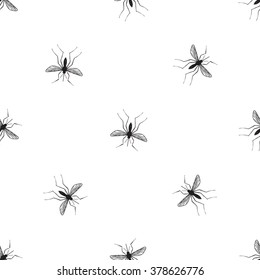 Zika virus malaria alert. Hand drawn black graphic sketch mosquito on white background. Signaling seamless pattern ideas for informational and institutional sanitation
