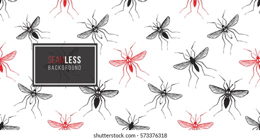 Zika virus malaria alert. Hand drawn black good mosquito and red infectious mosquito on white background.