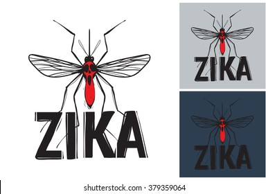 Zika virus mosquito vector image. Picture with zika virus mosquito. Symbolic zika virus mosquito. Vector zika virus mosquito logo. Label with zika virus mosquito. Attention zika virus mosquito