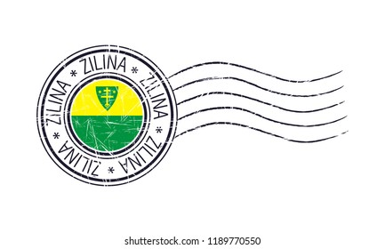 Zilina city grunge postal rubber stamp and flag on white background