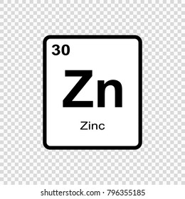 Zinc chemical element. Sign with atomic number. Chemical element of periodic table.