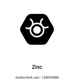 Zinc icon vector isolated on white background, logo concept of Zinc sign on transparent background, filled black symbol