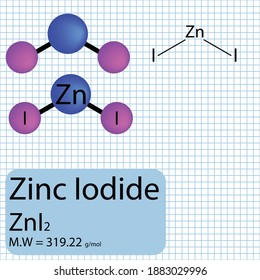 Zinc Iodide molecule ball and stick model with chemical structure on school paper background. Inorganic ZnI2 compound with molecular weight.