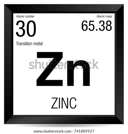 zinc symbol element number 30 of the periodic table of the elements chemistry