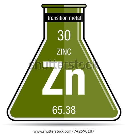 Zinc Symbol On Chemical Flask Element Stock Vector Royalty Free