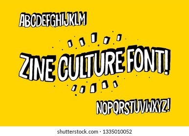 Zine Culture Font. Hand Drawn Cartoon Typography Artwork. Simple Cartoon Art Alphabet. Vector design elements.