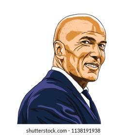 Zinedine Zidane Zizou Vector Illustration Portrait. Madrid, July 20, 2018