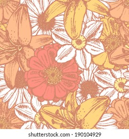 Zinnia, daisy, narcisssus and lily, vector seamless pattern