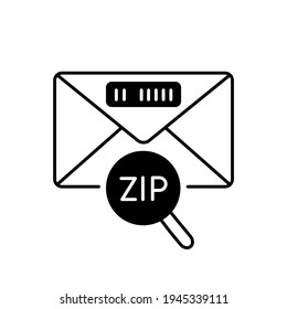 Zip code black linear icon. Post office service, correspondence outline symbol on white space. Letter with location ID. Envelope with postal code under magnifying glass vector isolated illustration