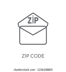 Zip code linear icon. Modern outline Zip code logo concept on white background from Delivery and logistics collection. Suitable for use on web apps, mobile apps and print media.