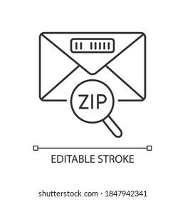 Zip code linear icon. Post office service, correspondence thin line customizable illustration. Letter with location ID. Contour symbol. Vector isolated outline drawing. Editable stroke