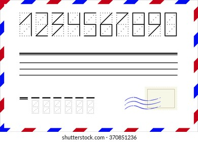 Zip code numbers with postal stamp and wave on the envelope vector