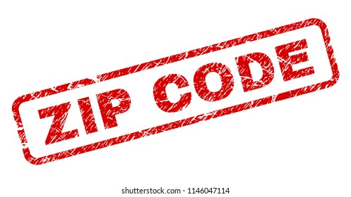 ZIP CODE stamp seal print with grunge style. Red vector rubber print of ZIP CODE tag with corroded texture. Text tag is placed inside rounded rectangle frame.
