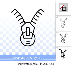 Zip fastener thin line icon. Outline sign of zipper. Fastening linear pictogram with different stroke width. Simple vector symbol transparent background. Zip Fastener editable stroke icon without fill