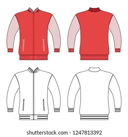 Zip fastener turleneck jacket man template (front, back views), vector illustration isolated on  background