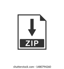 ZIP file document icon. Download ZIP button icon isolated. Flat design. Vector Illustration